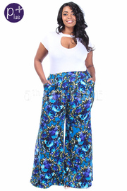 Plus Size High Waist Floral Flared Pants