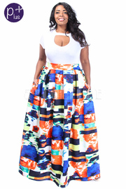 Plus Size Colorful Abstract Scuba Maxi Skirt