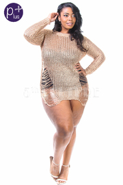 Plus Size Metallic Ramie Sliced Long Sleeved Top