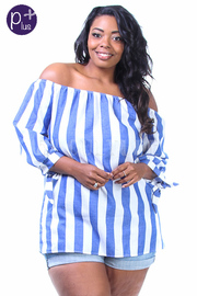 Plus Size Off Shoulder Chambray Striped Top