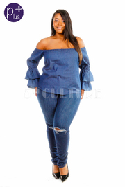 Plus Size Tango Ruffle Long Sleeved Denim Top
