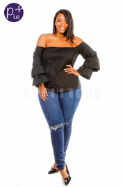 Plus Size Off Shoulder Tango Ruffle Top