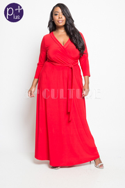 Plus Size Tie Waist Surplice Maxi Dress