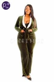 Plus Size 2-Piece Casual Velvet Pants Blazer Set