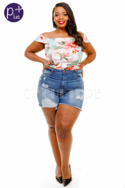 Plus Size Ripped Off Denim Mini Shorts