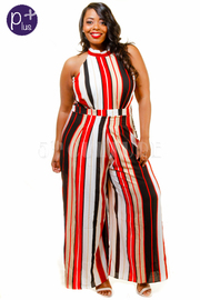 Plus Size Striped Palazzo Jumpsuit