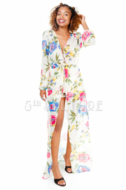 Surplice Spring Floral Sheer Romper Maxi Dress