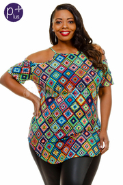 Plus Size Peek A Boo Colorful Aztec Print Top