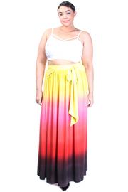 Plus Size Ombre Sunset Maxi Scuba Skirt