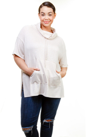 Plus Size High Neck Drape Terry Pouch Top
