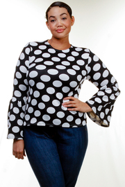 Plus Size Polka Dot Trumpet Sleeves Top
