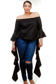 Plus Size Off Shoulder Spiral Bell Solid Top
