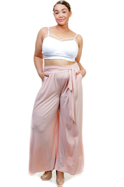 Plus Size Solid Palazzo Tie Waist Pants