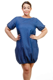 Plus Size Bubble Short Sleeved Denim Dress
