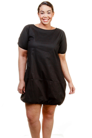 Plus Size Sexy In Black Bubble Short Sleeved Dress