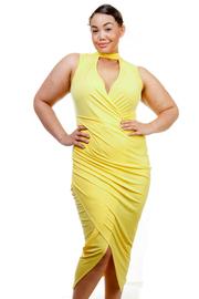Plus Size Mandarin Keyhole Overlap Ruched Spring Dress