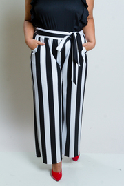 Plus Size Referee Striped Palazzo Pants With Tie Waist