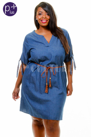 Plus Size V-neck Belted Chambray Tunic Dress