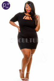 Plus Size Caged Solid Tube Dress
