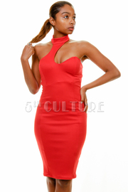 Sexy Cutout Detail Solid Tube Dress