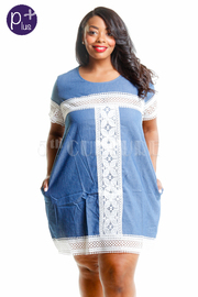 Plus Size Summer Denim Crochet Trim Tunic Dress