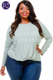 Plus Size Long Sleeved Solid Jersey Top