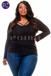 Plus Size Cross Straps Long Sleeved Top