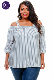 Plus Size Peek A Boo Striped Tunic Top