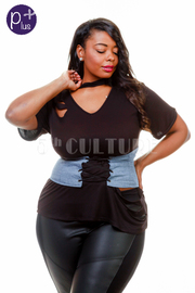 Plus Size V-neck Basic Ripped Top With Denim Tie Up Belt Detail