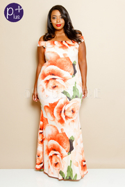Plus Size In Love With Roses Maxi Dress