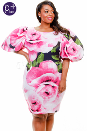 Plus Size Pretty In Roses Bubble Sleeved Tube Dress
