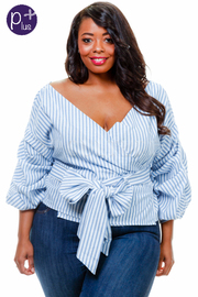 Plus Size Surplice Tie Waist 3/4 Sleeved Top