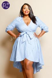 Plus Size Striped Hi Lo Tie Waist Dress