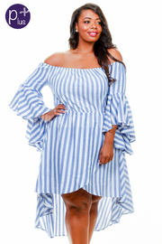 Plus Size Off Shoulder Striped Hi-Lo Bell Sleeved Dress