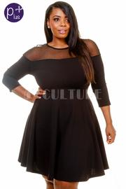 Plus Size Sheer Trim Night Flared Dress