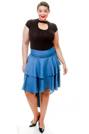 Plus Size Ruffle Hi Lo Denim Skirt
