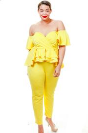 Plus Size Ruffle Short Sleeved Sweetheart Peplum Jumpsuit