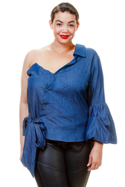 Plus Size Sexy In Denim One Shoulder Tie Shirt