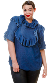 Plus Size Ruffle Peasant Chambray Top