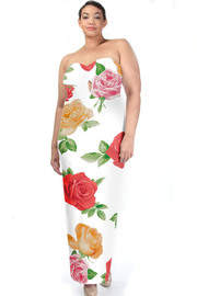 Plus Size In Love With Roses Strapless Maxi Dress