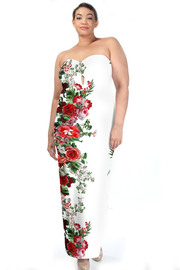 Plus Size Sweetheart Border Floral Side Maxi Slit Dress