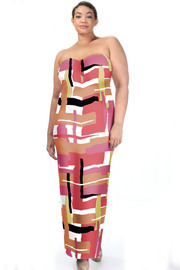 Plus Size Strapless Sweetheart Abstract Lined Maxi Dress