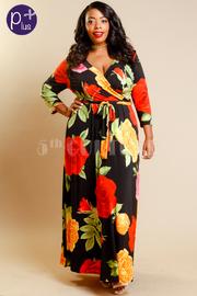 Plus Size Stylish Roses Wrap 3/4 Sleeved Maxi Dress