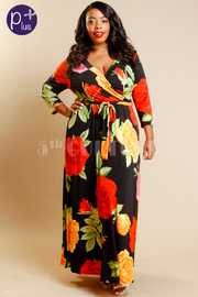 Plus Size Stylish Roses Wrap 3/4 Sleeved Maxi Dress