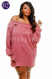 Plus Size Wide Neck Destroyed Terry Sweater
