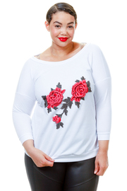Plus Size Roses Patch 3/4 Sleeved Top