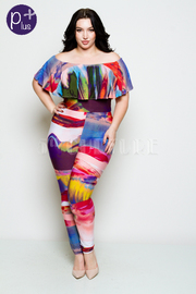 Plus Size Colorful Abstract Off Shoulder Jumpsuit