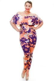 Plus Size Off Shoulder Ruffle Floral Printed Jumpsuit