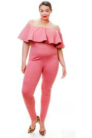 Plus Size Off Shoulder Ruffled Ponti Jumpsuit