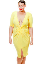 Plus Size Deep V Twist Detail Midi Dress